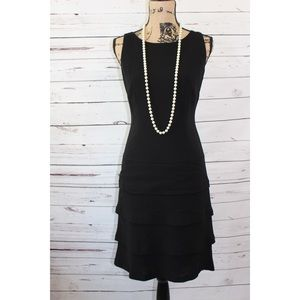 RL Black Sheer Dress Layered Ruffle Bottom